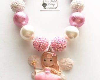 Girl's Sweet Tooth Fairy/Fairy Enamel Paint Pendant and Chunky Bubblegum Beads Necklace