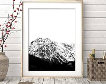 Mountain Print, Landscape, Printable Art, Nature Print, Minimalist, Black and White Print, Fog Art, Mountain Range, Nordic, Minimalist Print