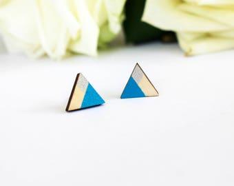 Triangle multicolor earrings, gift for women, blue earrings, geometric earring studs, minimalist earrings, christmas earrings, gift for her
