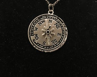 Compass, silver pendant necklace