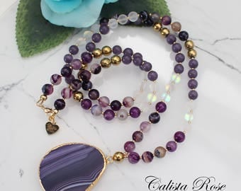 Purple Beaded Gemstone necklace Purple Agate Necklace mala necklace Purple Jade necklace Bohemian Jewelry Long beaded necklace - Aubergine