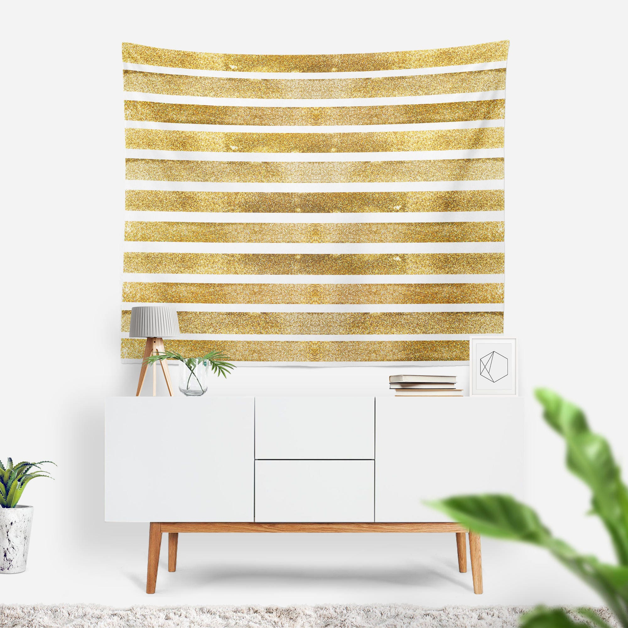 Gold Stripes Wall Tapestry | Faux Glitter Wall Hanging | Glam ...