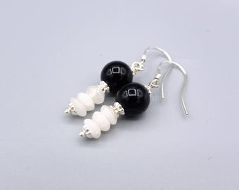 Onyx earrings - petite onyx agate earrings - black white earrings - 925 silver