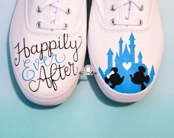 Happily Ever After Disney Wedding and Anniversary Painted Keds