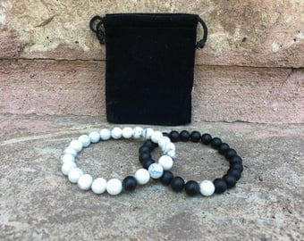 Distance Bracelets - Black And White Matching Pair - Long Distance - For Friendships/relationships/couples - His/Hers FREE U.S SHIPPING!