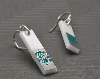 PLATINUM and .925 Sterling Silver glass earrings - nickle free