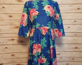 Vintage, 1980', blue floral maxi dress/ half sleeves/ medium