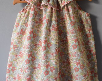 Blouse with frill collar sewn liberty Flower Tops