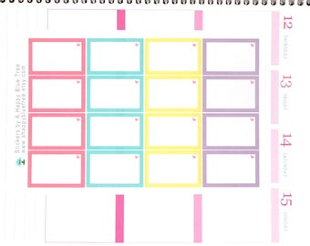 Colorful Half Box with a Heart (UNICORN Kit Colors) Stickers Erin Condren Planner ECLP Create 365 Mambi Personal Kawaii Cute Pastel Pink