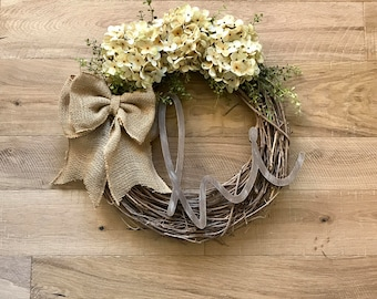 Front Door Wreath-Hi Wreath-Farmhouse Decor-Rustic Decor-Monogram Wreath-Housewarming Gift-Hydrangea Wreath-Unique Wreath-Door Wreath-Wreath