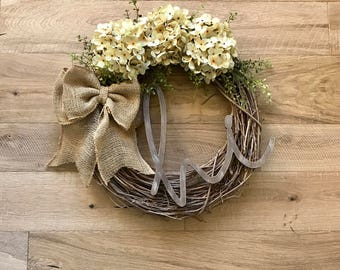 Hi Wreath-Front Door Wreath-Holiday Wreath-Christmas Wreath-Monogram Wreath-Hydrangea Wreath-Rustic Wreath-Farmhouse Decor-Fall Door Wreath