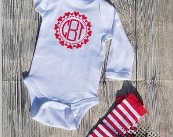 Valentines monogram Bodysuit Infant  baby Unisex Cotton  t-shirt vinyl heart holiday personalized