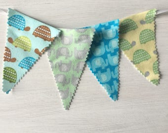 Bunting Banner Nursery, Kid's Room Decor, Fabric Bunting, Fabric Garland, Blue and Green Turtle Fabric
