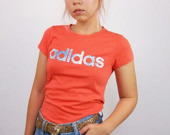 Vintage 90's Adidas Spellout Front Logo in Coral Pink | Size XS - S petite