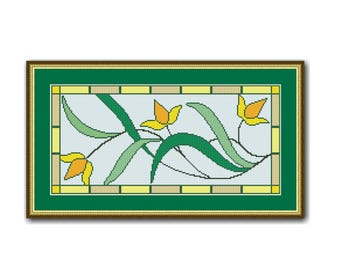 Art Deco Yellow Tulips Cross Stitch Pattern, Instant PDF Digital Digital Download Floral Counted Cross Stitch Chart  (P-535)