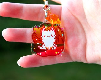 Firefly the Sunrise Kitsune - Acrylic Charm 1.5 Doublesided Furry Fox Keychain Cellphone Strap