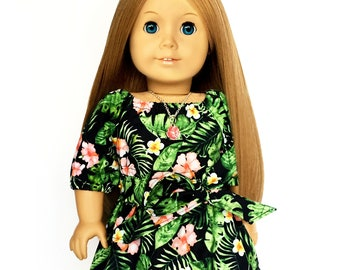 Flare Skirt, Sash Belt, Tropical, Black, Green, Pink, Fits dolls such as American Girl, 18 inch Doll Clothes, Mix and Match