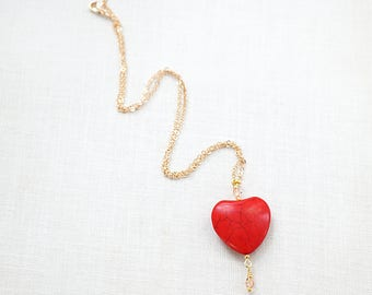 4th July Summer Party Large RED Heart Necklace Thin Gold Chain PINK Crystals Colorful Necklace Heart Charm Unique Gift for Women Girlfriend