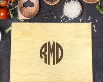 Monogram Cutting Board, Custom Cutting Board, Personalized Cutting Board, Cutting Board Wedding Gift, Engraved Board,  B-0060 Rec