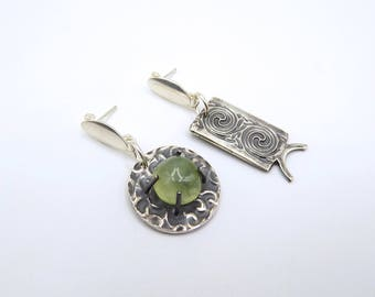 Earrings, asymmetry, Asian, green, metal clay, fine silver, modern, prehnite gemstone, round and rectangle