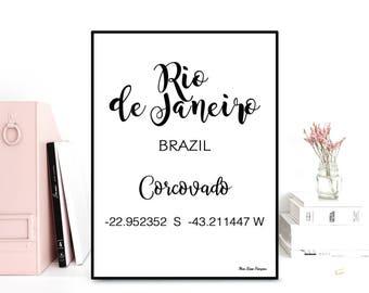 GPS Rio de Janeiro coordinates, GPS art print, Latitude longitude art, Wall decor, Typography quote, Black & white poster, Printable wall