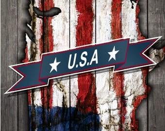 USA American Flag Patriotic Weathered Wood LAMINATED Cornhole Wrap Bag Toss Decal Baggo Skin Sticker Wraps