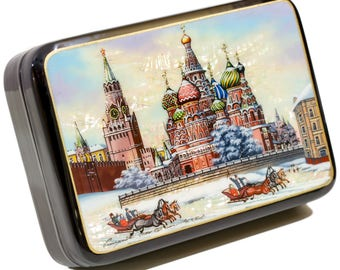 "Russian Fedoskino Lacquer Box - MEDIUM SIZE - ""Red Square at winter. Moscow"" - Hand Painted in Russia - Collectible Art Quality"
