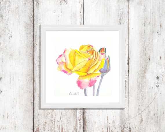 Yellow and fuchsia rose, original watercolor, ooak, one of a kind, birthday gift idea. Baby shower. Wall art, living room, infant room.