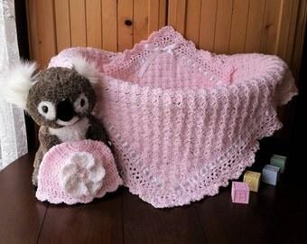 Crochet Baby Girl Blanket and Hat, Baby Girl Blanket Gift Set, Baby Shower Gift for Baby Girl