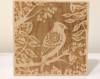 Crested Tit in Foliage - laser engraved wooden block