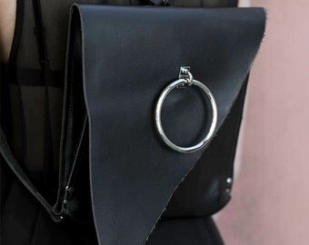 EUPORIE _ Black Genuine Leather Bag - Asymmetric Backpack - Geometric Bag - O-ring - Luxury Accessory | RHÉA