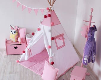 READY TO SHIP! Pink teepee with poles Pink and white PlayHouse for kids Play tent Tepee tent for kids Indoor wigwam Pink tipi