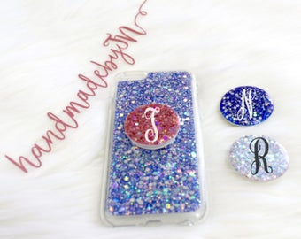 Sparkle Glitter Pop socket Grip Phone Holder Ring Stand Pop Up Personalized Monogram initial Phone case PopSocket iPhone case