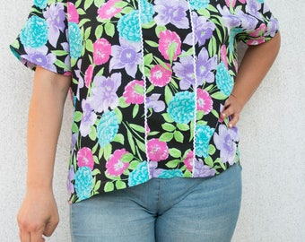 Vintage Blouse-Flower shirt-delicious vintage blouse-vintage flowers