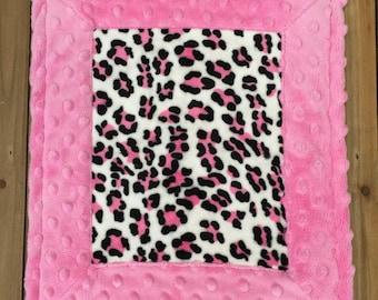 Baby Girl Lovie Security Blanket Lovie Blanket Lovies Leopard Print Lovie Baby Gift