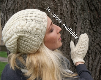 Winter hat, Knit mittens, Womens hats, Beanie hat, Cream, Mothers day gift, Winter cap, Knit beanie, Womens winter hats, Knit hat, Wool hat