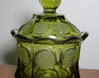 """Fostoria Coin Glass Olive Green Covered Sugar - 5 3/8"""" Tall - Great Piece!"""