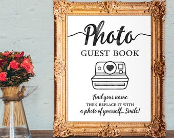 Photo guest book - find your name then replace it with a photo of yourself smile - wedding guest book - 8x10 - 5x7