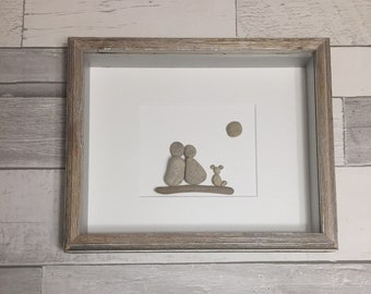 Pebble Art Couple and Dog ~ unique engagement gift, bridal shower gift, wedding gift, anniversary gift, retirement gift, housewarming gift