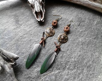 Earrings green and grey, feathers Brown beads, bronze piece, leather, ethnic, tribal