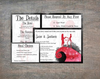 The Nightmare Before Christmas Wedding Invitation Set - Printable Invitation - Wedding Invitations - Instant Download - Print At Home - DIY