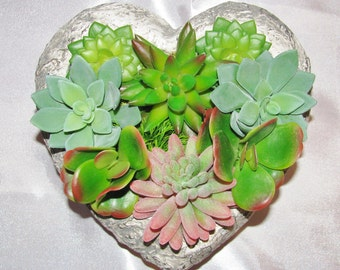 Succulent Arrangement, Gift for Everyone, Heart-Shaped Cement Succulent Planter, Faux Succulent Arrangement, Artificial Succulent Gift