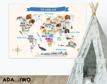 Poster with LARGE animal world map for kids. 100x70cm (39.37in x  27.56in)