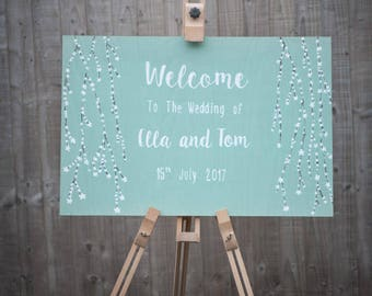 Welcome Wedding sign,Blossom Wedding,Wooden sign,Rustic Wooden Sign,Personalised sign,Hand painted,Marriage sign,Shabby Chic