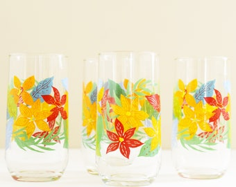 Retro Drinking Glasses - Breakfast juice glass - Water tumblers - Colourful flowers - Set of 4 - 1980's