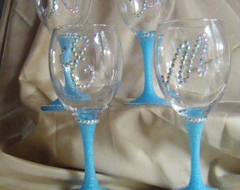Personalised Glittered Wine Glasses