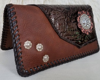 Silky Mocha Ladies Leather Wallet, 5 Credit/4 Pocket Leather Interior, Crystal & Nickle Accent Piece, HandLaced w/Leather Lace