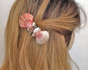 Shell Hair Barrette, French Hair Barrette sea shells, Ocean