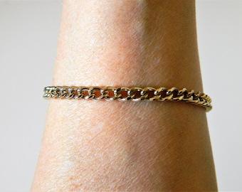 "Vintage Curb Link Chain Bracelet Gold Tone 7"", Retro Jewelry, Costume Jewelry, Delicate Jewelry, Estate Jewelry"