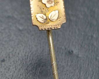 Victorian 9CT Gold Topped FLOWER Aesthetic Daisy Pansy Floral STICK PIN Stock Pin